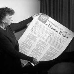 Eleanor Roosevelt holds Human Rights Declaration