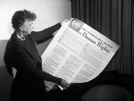 Eleanor Roosevelt holds Human Rights Declaration