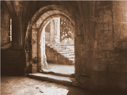 stone stairs seen through archway