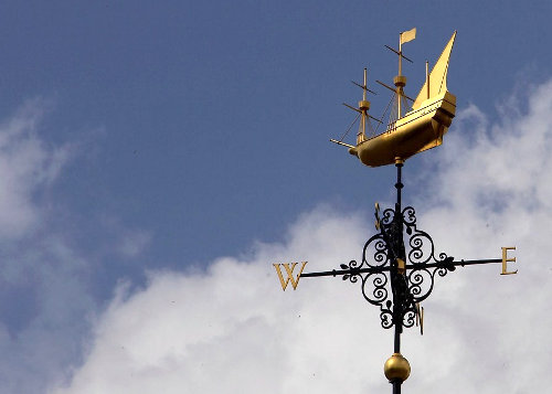 weather vane shaped like a tall ship