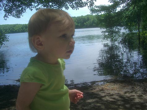 child at Walden Pond