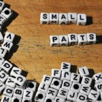small parts spelled with alphabet block beads