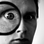 magnifying glass, face