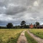 farm under stormy sky