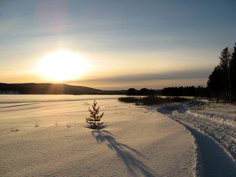 silent snowy sunset