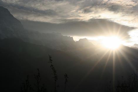 sun kissed mountain