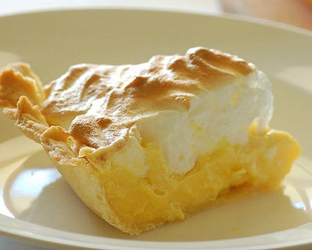 a slice of lemon meringue pie